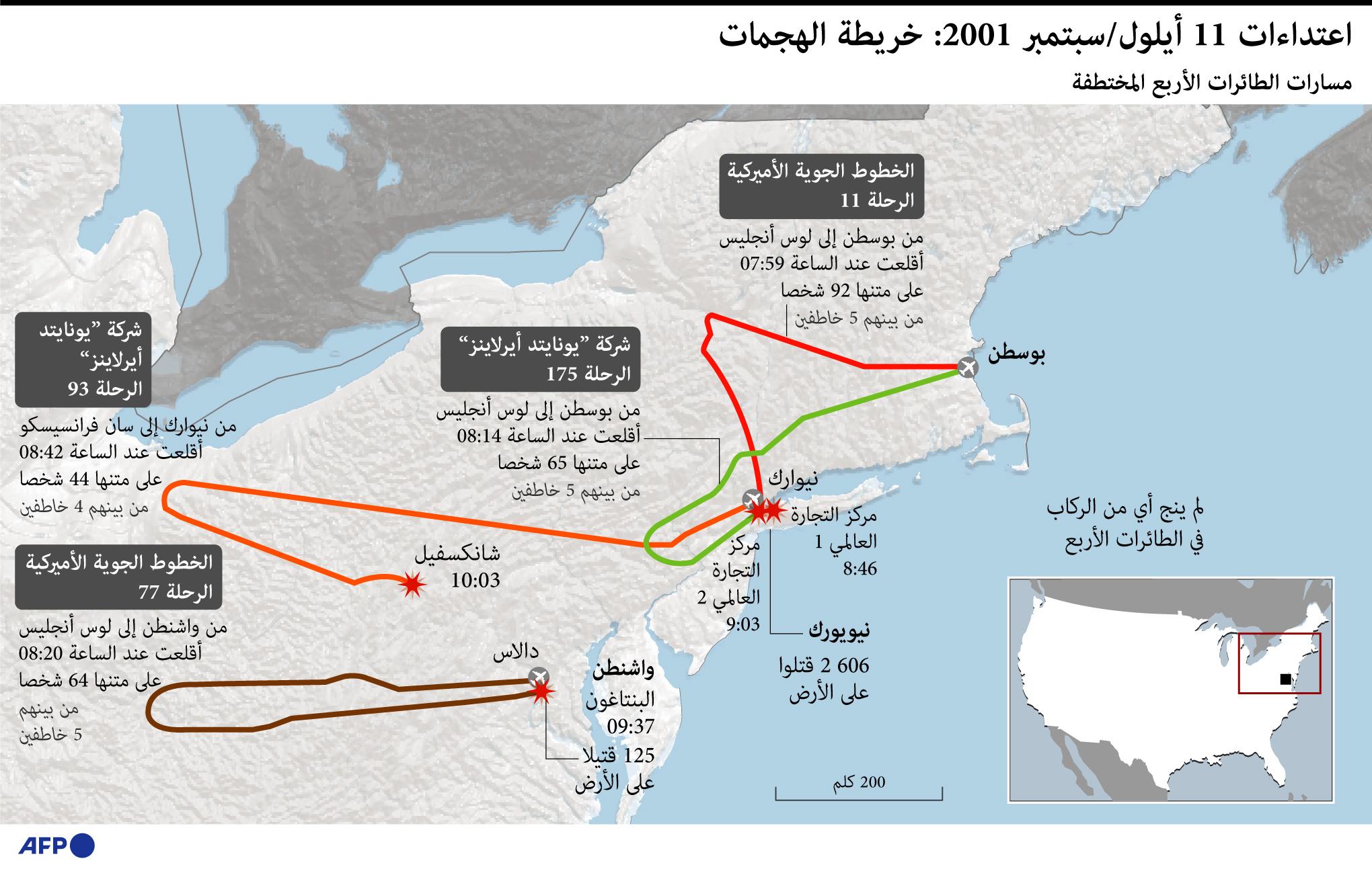 مسار الرحلات المُختطفة لتنفيذ هجمات 11 سبتمبر 2001.