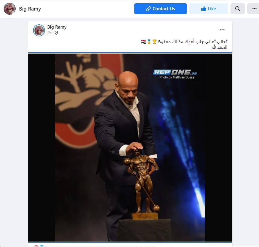 بيغ رامي يحتفل بإنجازه الجديد في مستر أولمبيا