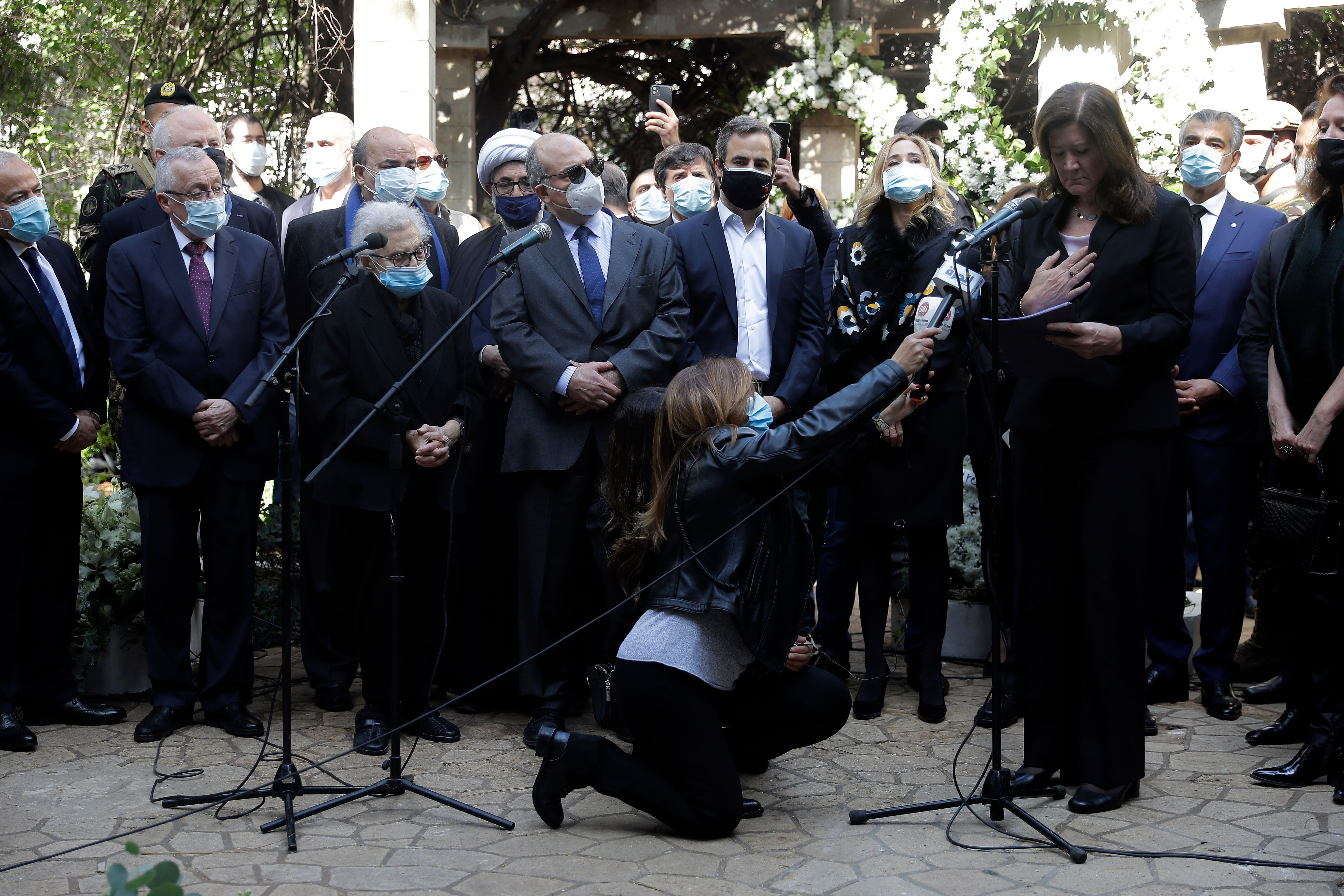 TOPSHOT - US Ambassador to Lebanon Dorothy Shea, surrounded by diplomats,friends and family members of slain prominent activist…