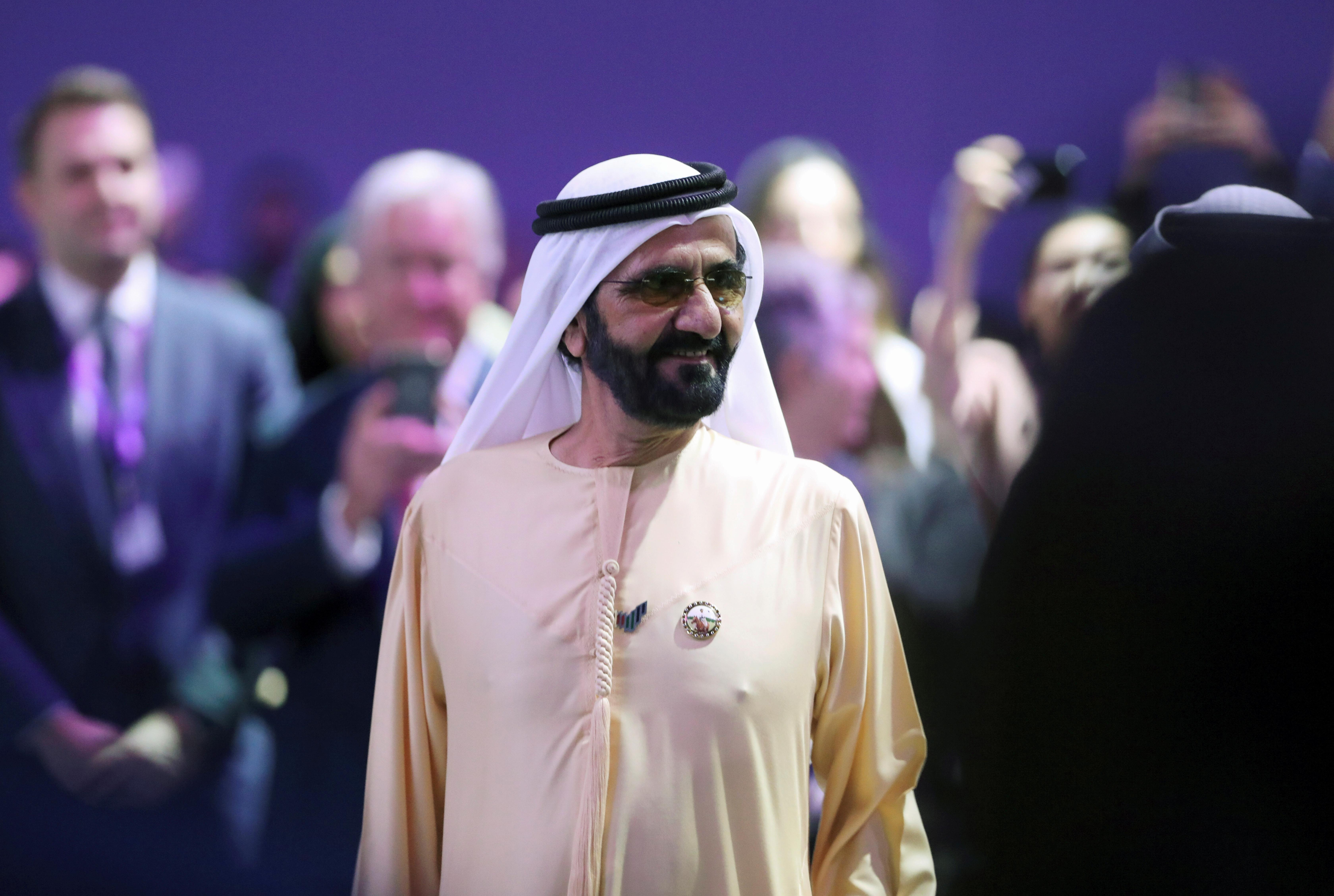FILE PHOTO: Prime Minister and Vice-President of the United Arab Emirates and ruler of Dubai Sheikh Mohammed bin Rashid al-Maktoum attends the Global Women's Forum in Dubai