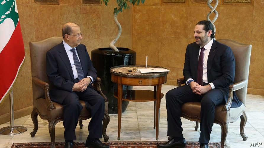 الرئيس اللبناني ميشال عون ورئيس الحكومة سعد الحريري في لقاء سابق_أرشيف