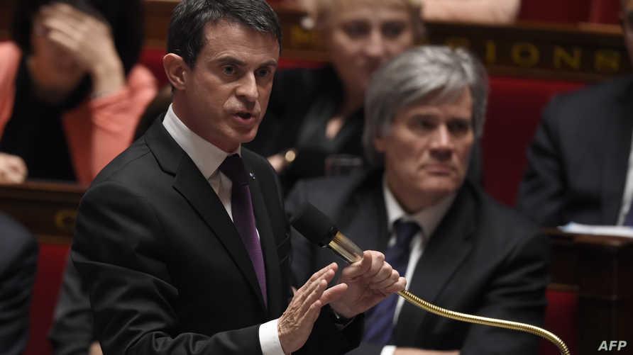 الوزير الأول الفرنسي مانويل فالس في الجمعية الوطنية (أرشيف)