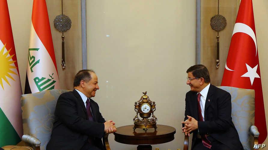 رئيس الوزراء التركي أحمد داود اوغلو يلتقي رئيس إقليم كردستان مسعود بارزاني في أنقرة
