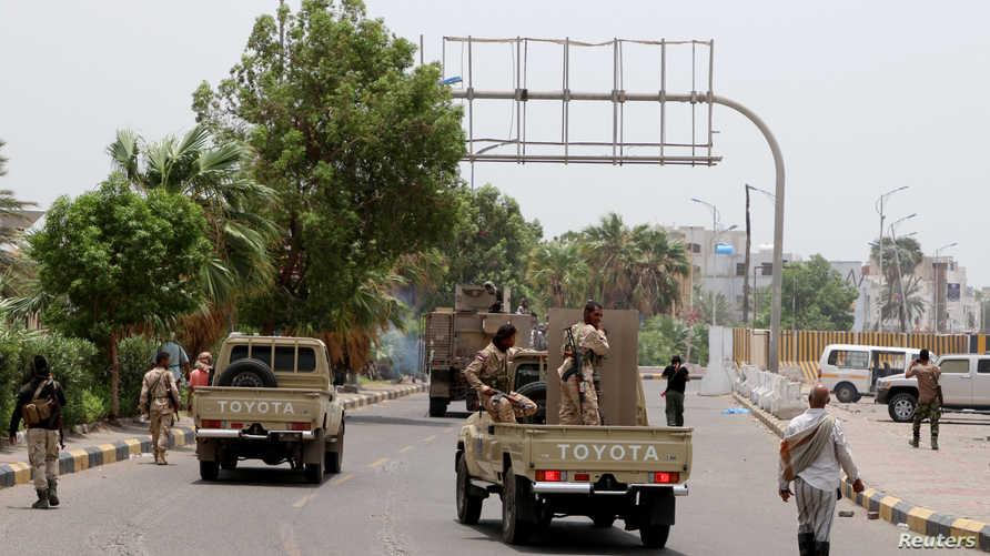 """عناصر في قوات """"الحزام الأمني"""" في عدن"""