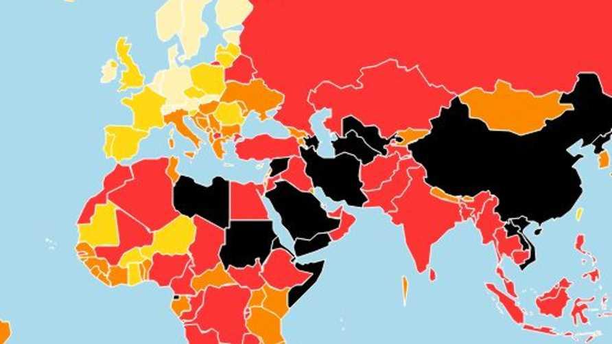 خريطة تفاعلية من الموقع الرسمي لمنظمة مراسلون بلاحدود