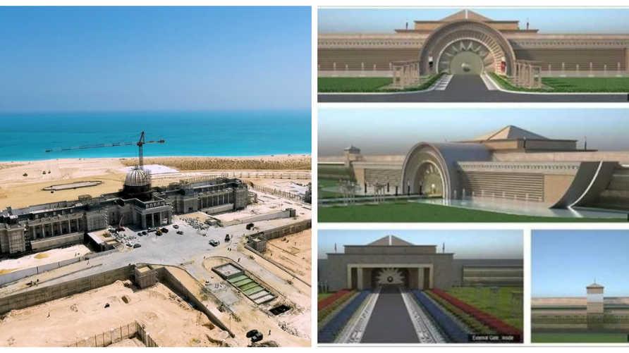 على اليمين القصر الرئاسي بالعاصمة الإدارية الجديدة وعلى اليسار القصر الرئاسي بمدينة العلمين الجديدة
