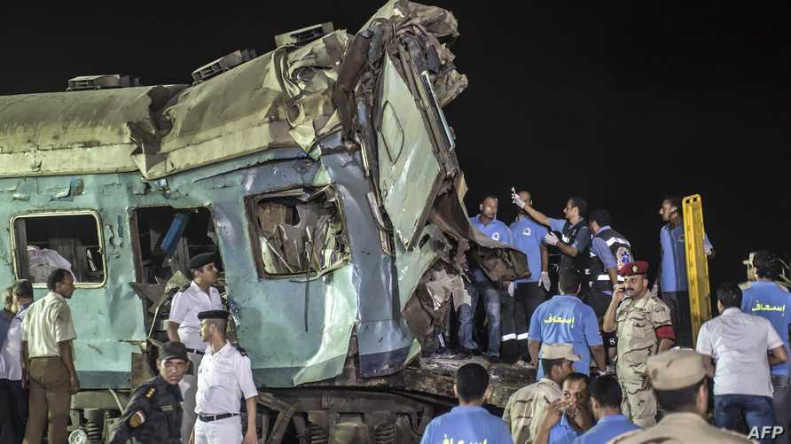 صورة من موقع حادث تصادم قطارين في مصر يوم 11 آب/أغسطس 2017