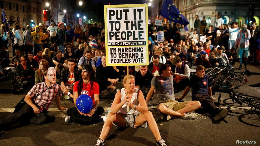 متظاهرون مناهضون للبريكست يطالبون بالتصويت مججدا
