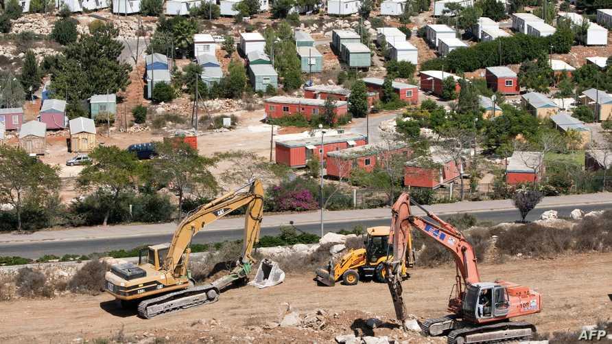 أعمال البناء في مستوطنة أريئيل الإسرائيلية في الضفة الغربية