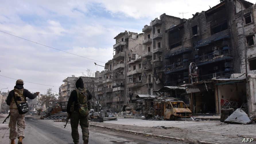 قوات نظامية سورية في شمال مدينة حلب