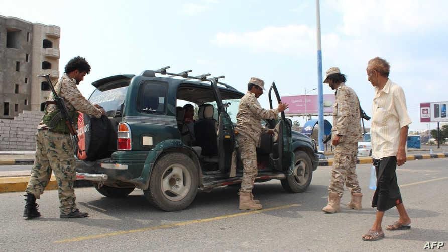 نقطة تفتيش تابعة للقوات اليمنية الموالية لهادي في عدن (أرشيف)