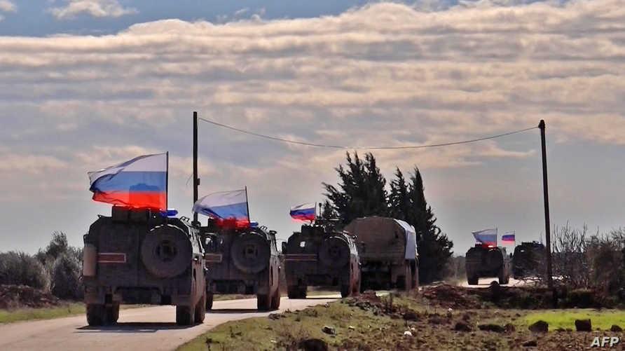 قوات روسية غربي منبج في صورة أخذت في يناير 2019