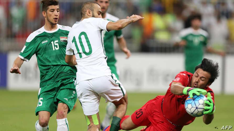 العراق والسعودية في مباراة سابقة-أرشيف