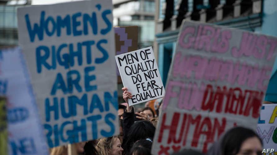 مظاهرة في لندن للمطالبة بالمساواة بين الجنسين