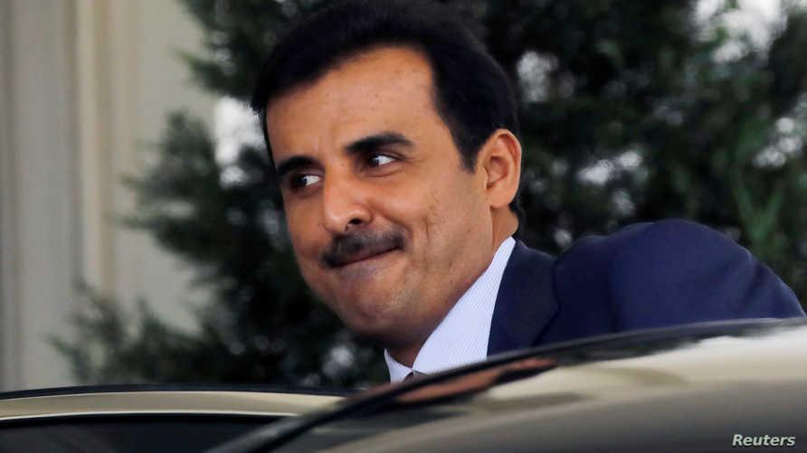أمير قطر مغادرا البيت الأبيض