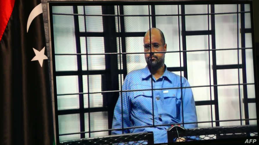سيف الإسلام القذافي خلال محاكمته في الزنتان- أرشيف