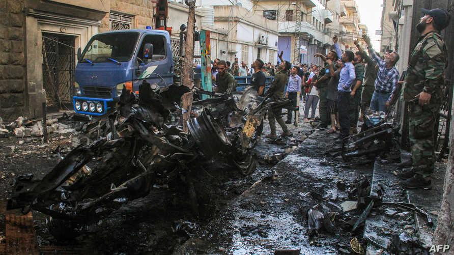 انفجار سابق لسيارة مفخخة في مدينة القامشلي السورية في يوليو 2019