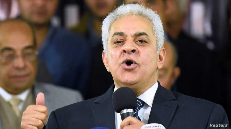 المرشح الرئاسي السابق حمدين صباحي خلال مشاركته في المؤتمر الصحافي