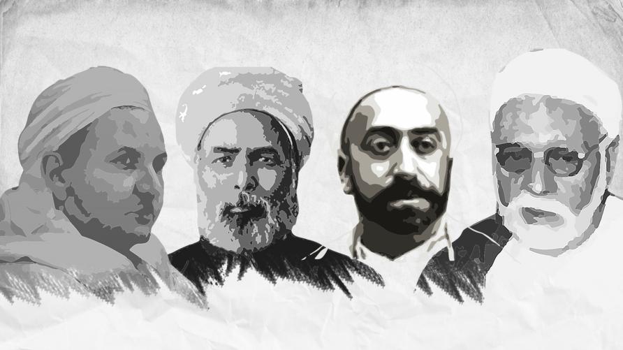 من اليمين: عبد العزيز جعيط، الطاهر بن عاشور، محمد عبده، وعلال الفاسي.
