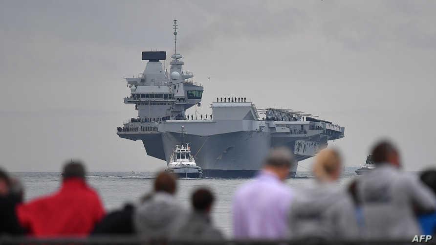 """حاملة """"HMS الملكة إليزابيث"""" خلال إحدى الجولات البحرية - 16 أغسطس 2017"""