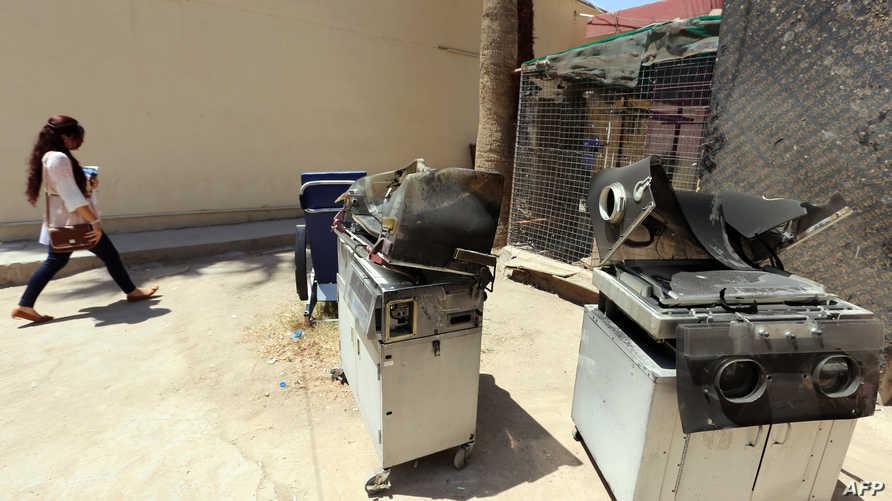 مخلفات حريق مستشفى اليرموك في بغداد
