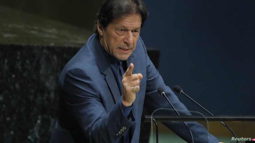 رئيس وزراء باكستان عمران خان خلال كلمته بالأمم المتحدة
