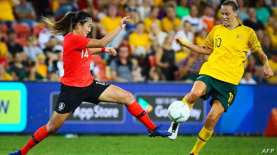 لقطة من مباراة منتخبي أستراليا وكوريا الجنوبية للسيدات - أرشيف