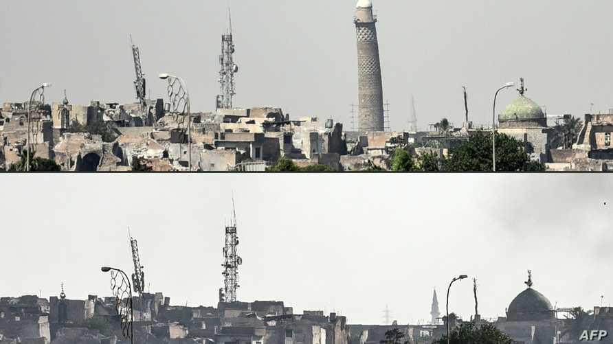 المنارة الحدباء قبل وبعد التدمير في الموصل
