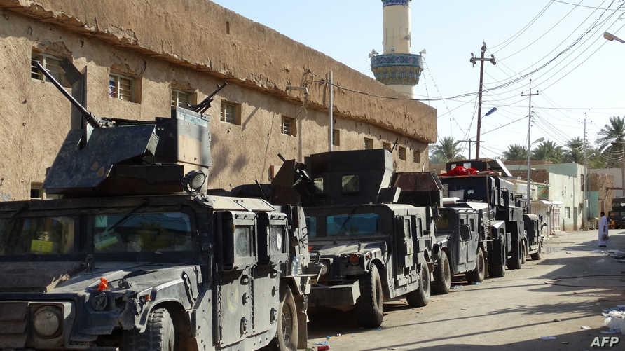 سيارت تابعة للجيش العراقي في إحدى مناطق محافظة الأنبار