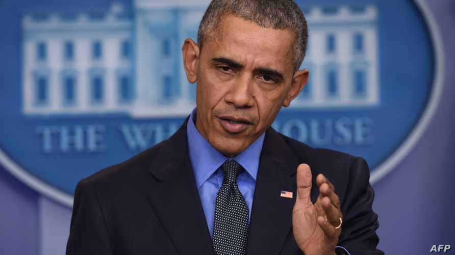 الرئيس باراك أوباما في آخر مؤتمر صحافي له عام 2015