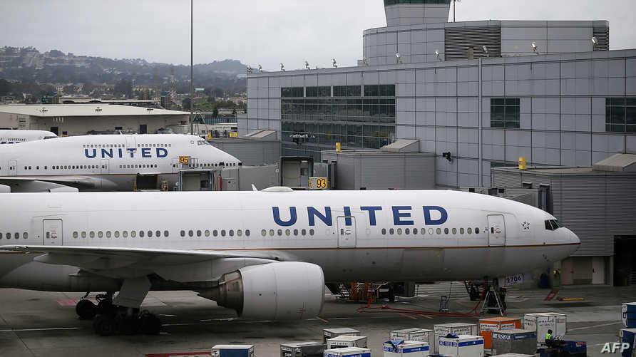 طائرات تابعة لشركة يونايتد أيرلاينز في مطار سان فرانسيسكو الدولي-أرشيف
