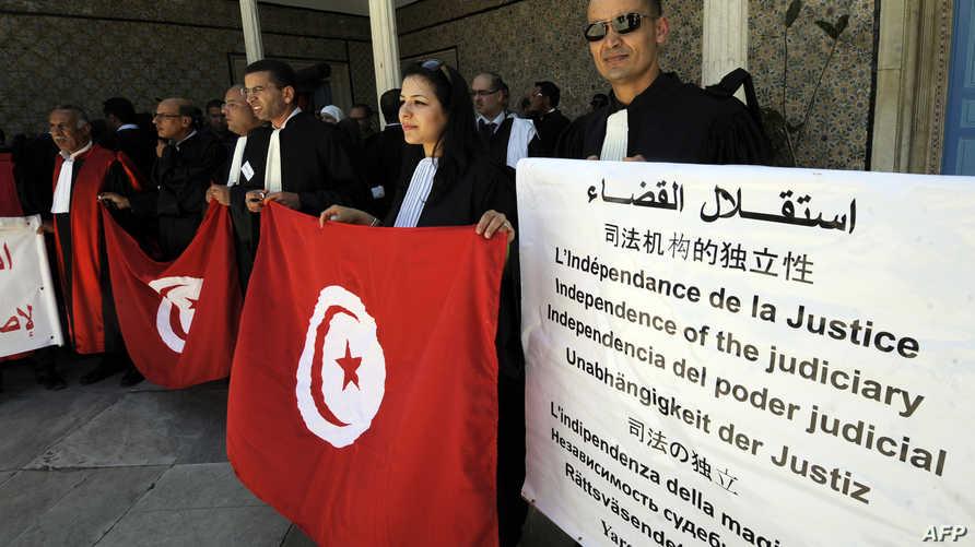 جانب من إضراب سابق للقضاة في تونس
