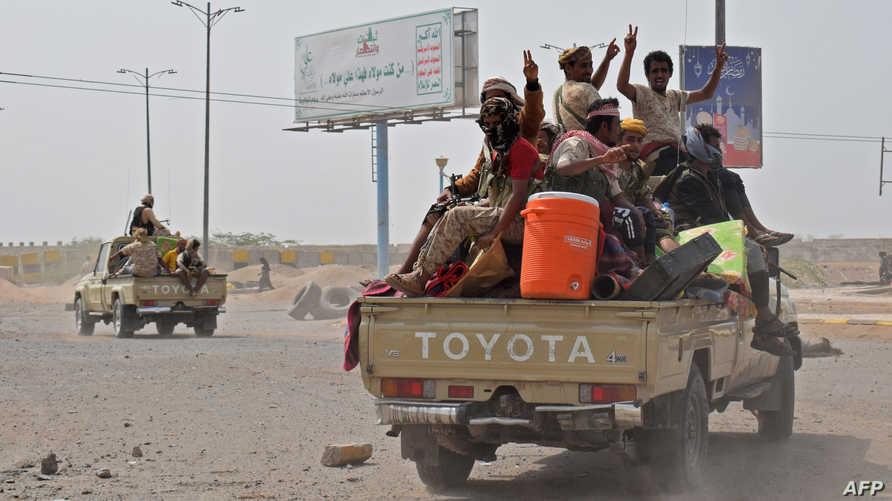 عناصر في القوات الموالية للحكومة اليمنية في الضاحية الشرقية للحديدة