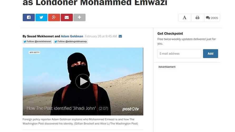 صورة من مقال صحيفة واشنطن بوست عن عنصر داعش الذي يظهر في مقاطع فيديو ذبح رهائن غربيين