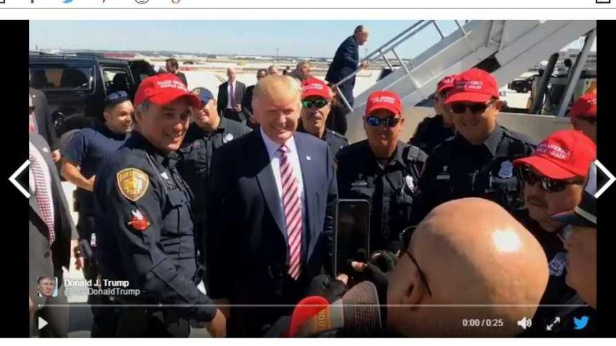 صورة ملتقطة من الفيديو الذي نشره ترامب لعناصر شرطة سان أنتونيو الذين يرتدون قبعات مؤيدة له
