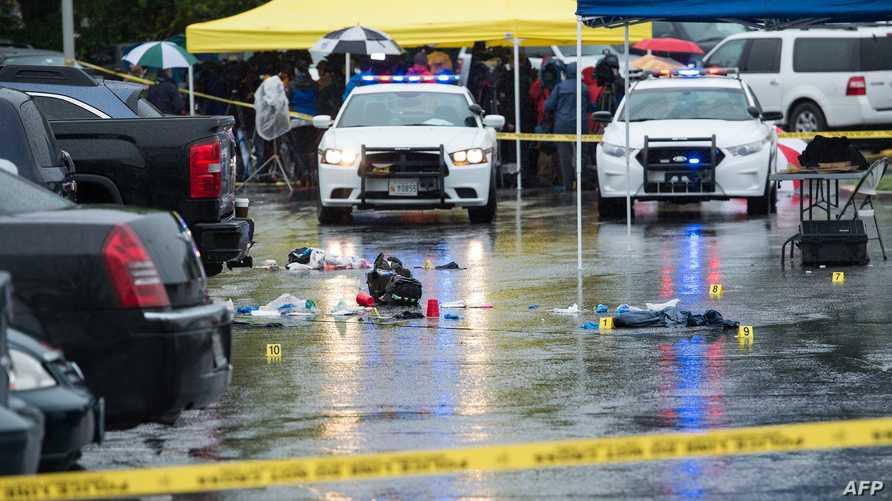 قوات الشرطة في مكان إطلاق النار بميريلاند.