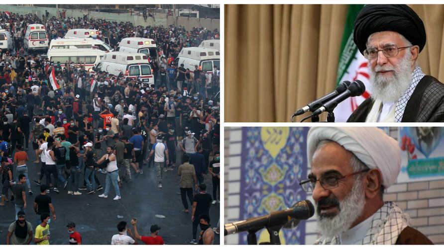 مرشد الثورة الإيرانية علي خامنئي وممثله في الحرس الثوري عبد الله حاجي صادقي