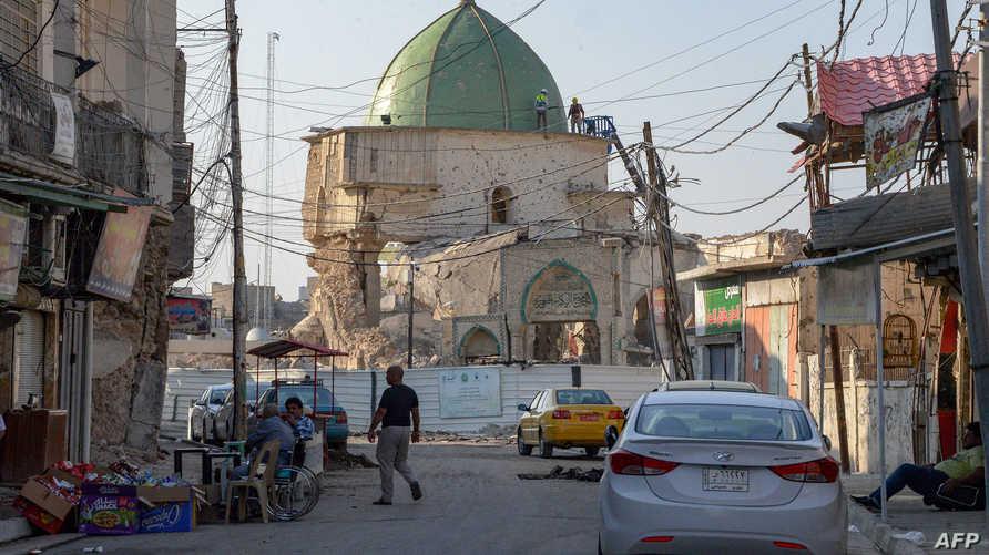 صورة التقطت في 27 أكتوبر 2019 تظهر الدمار الذي أصاب جامع النوري بمدينة الموصل