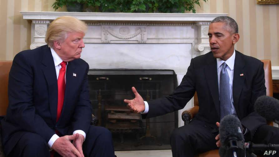أوباما أثناء اجتماعه بترامب