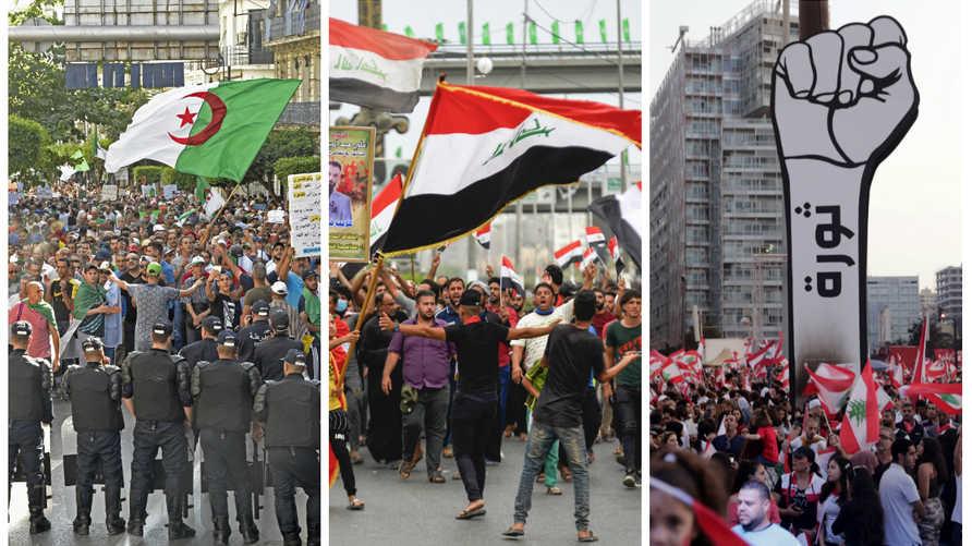 التظاهرات تجتاح الشرق الأوسط وشمال أفريقيا، خاصة في دول لبنان، والعراق، والجزائر