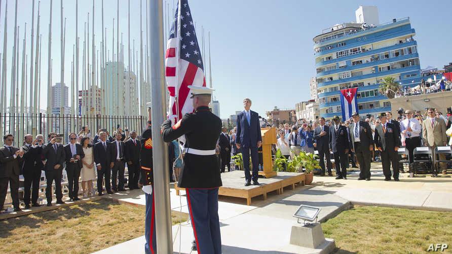 مراسم رفع العلم الأميركي على مبنى السفارة الأميركية في كوبا