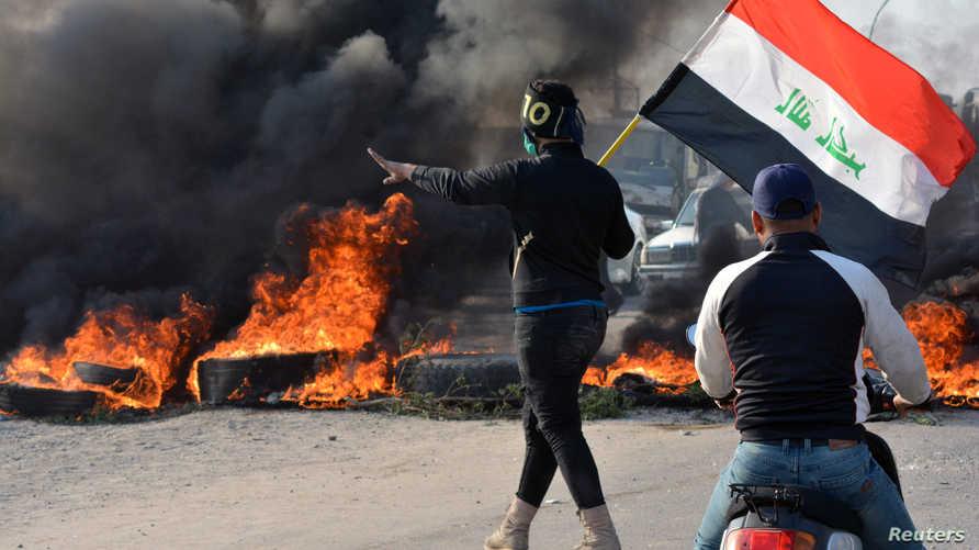 إحدى المناطق التي تشهد احتجاجات في الناصرية