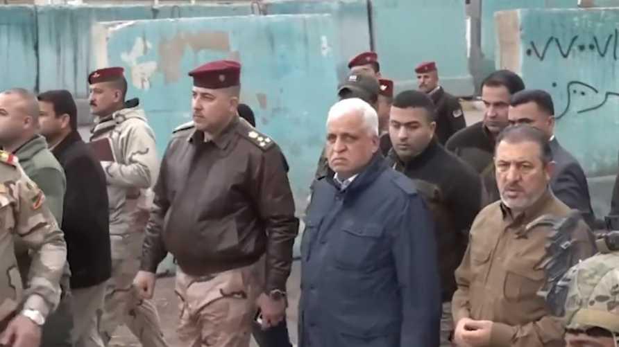 Iraqi National Security Adviser Faleh Al-Fayyad, accompanied by Abu Zainab Al-Lami