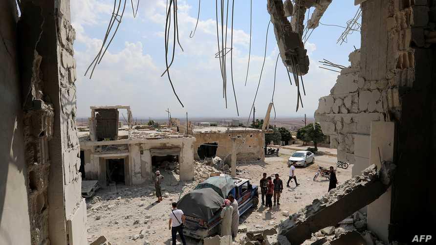 دمار ناتج عن قصف قوات النظام لمناطق المعارضة في إدلب