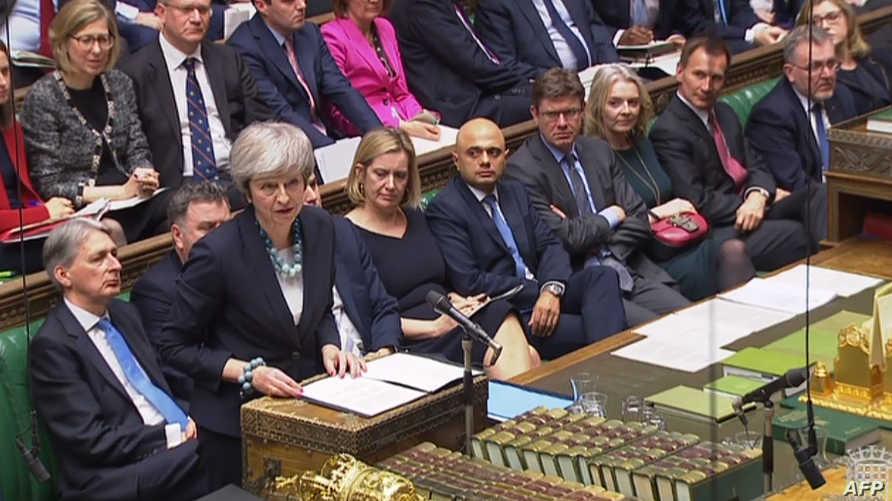 رئيسة الوزراء البريطانية تيريزا ماي تتحدث في مجلس العموم