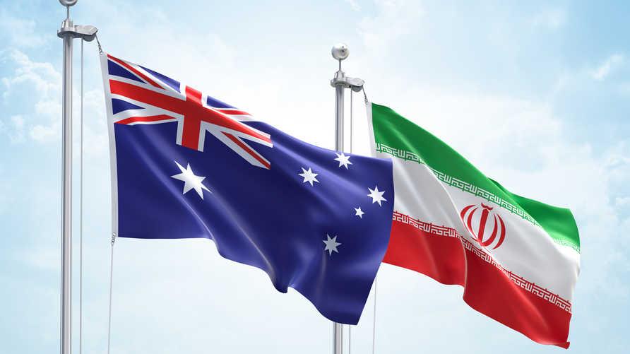 أعلام كلا من أستراليا وإيران. تعبيرية