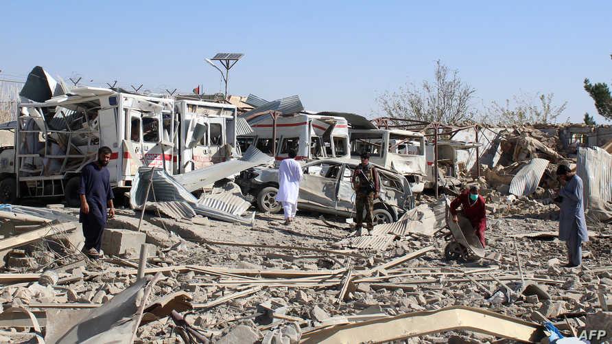 جانب من الدمار الذي خلفه الهجوم في ولاية زابل
