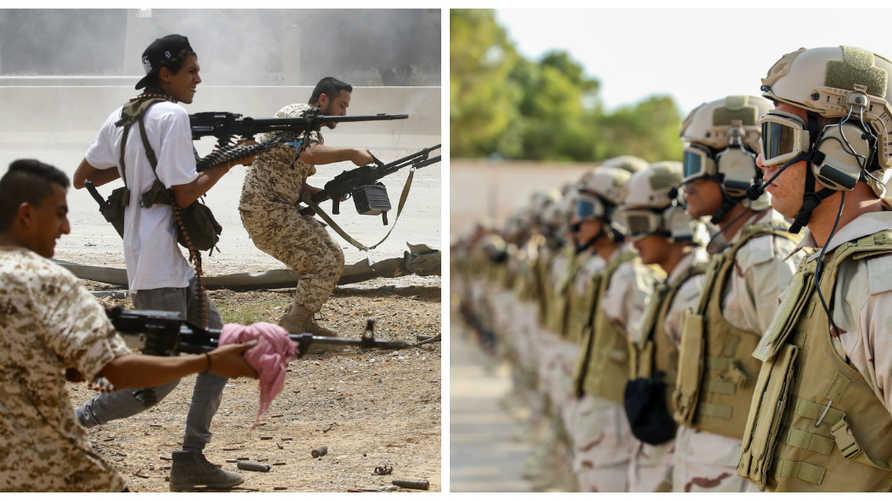 على اليمين قوات تابعة للمشير خليفة حفتر وعلى اليسار قوات تابعة لرئيس الوزراء فايز السراج