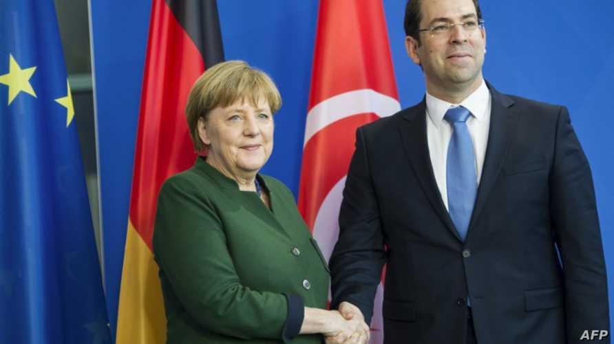 رئيس الوزراء التونسي يوسف الشاهد والمستشارة الألمانية أنجيلا ميركل