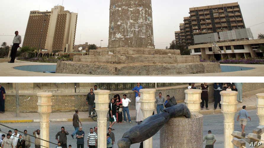 لحظة سقوط تمثال صدام حسين في بغداد عام 2003